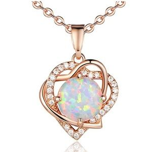 Jewelry - Opal Necklace Best Gift for Mom, Rose Gold Plated